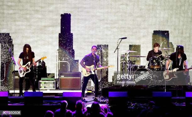 Armon Jay Chris Carrabba Benjamin Homola and Scott Schoenbeck of Dashboard Confessional perform onstage during iHeartRadio ALTer Ego 2018 at The...