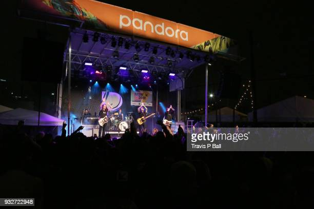 Armon Jay Mike Marsh Chris Carrabba and Scott Schoenbeck of Dashboard Confessional perform onstage at Pandora during SXSW at Stubb's BarBQ on March...