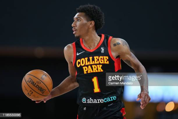 Armoni Brooks of the College Park Skyhawks controls the ball during the fourth quarter of an NBA GLeague game against the Canton Charge on November...