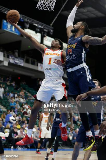 Armoni Brooks of the College Park Skyhawks drives against Isaac Copeland of the Texas Legends during the second quarter on January 26, 2020 at...