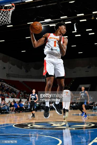 Armoni Brooks of the College Park Skyhawks grabs a rebound against the Lakeland Magic during the game on November 16 2019 at RP Funding Center in...