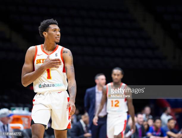 Armoni Brooks of the College Park Skyhawks shows emotion v Long Island Nets during an NBA GLeague game on November 11 2019 at NYCB Live Home of the...