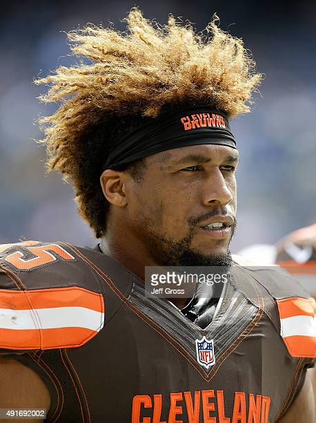 Armonty Bryant of the Cleveland Browns looks on prior to the start of the game against the San Diego Chargers at Qualcomm Stadium on October 4 2015...