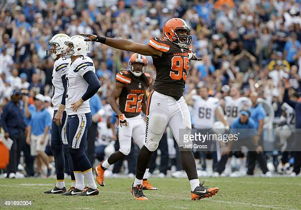 Armonty Bryant of the Cleveland Browns reacts during the game against the San Diego Chargers at Qualcomm Stadium on October 4 2015 in San Diego...