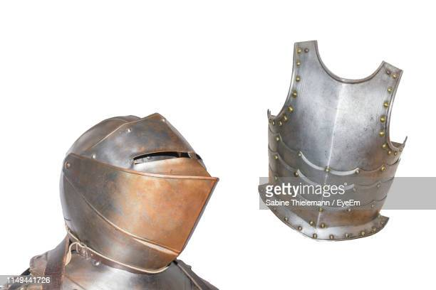 armor costume against white background - traditional armor stock pictures, royalty-free photos & images