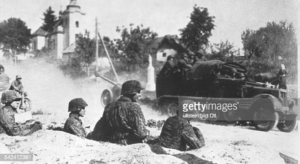 Armored infantrymen of the WaffenSS near Caen after the landing of the Allies in Normandy July 1944