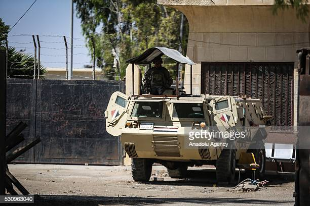 Armored military vehicle of Egyptian army is seen at the border gate as Egyptian authorities have kept the Rafah border crossing with the...