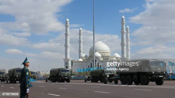 Armored military vehicles are being displayed during a military parade marking the 25th Foundation Anniversary of the Kazakhstan Armed Forces called...