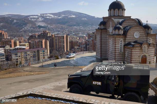KFOR armored vehicle is on standby in the Serbian area of Mitrovica on February 20 2017 in Mitrovica Kosovo The new US Trump administration...