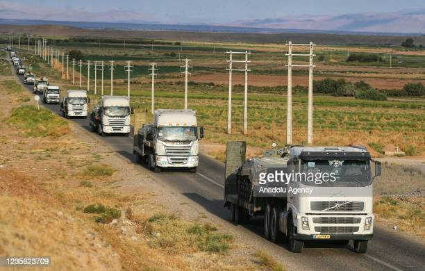 """Armored vehicles take part in the """"Khyber Conquerors"""" military drill in the general area of ââthe northwest of Iran, located at the borders with..."""