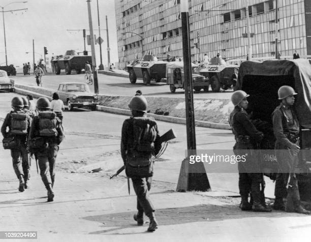 Armored vehicules and soldiers patrol in the streets of the Tlatelolco section of Mexico City, 05 October 1968, three days after Mexican army opened...