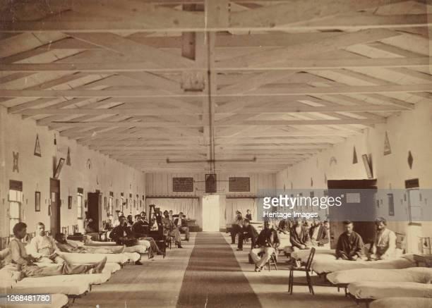 Armory Square Hospital, Interior of Ward K, circa 1863. Artist Attributed to Alexander Gardner.