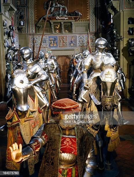 Armour display Riding Salon Stibbert Museum Florence Italy Florence Museo Stibbert
