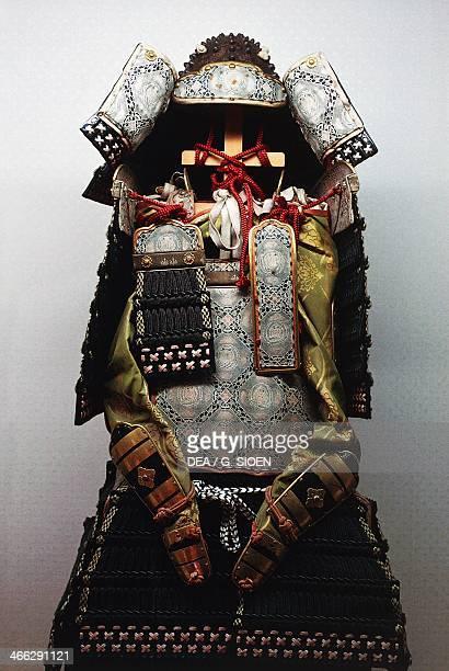 Armour exhibited in the museum of Tsurugaoka Hachimangu Shinto Temple Kamakura Japanese civilization