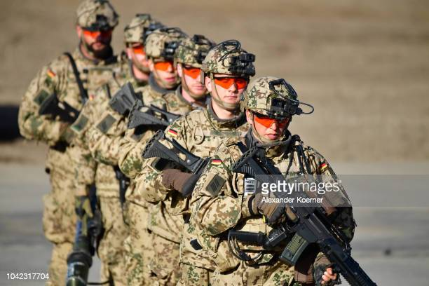 Armoured infantryman of the Bundeswehr the German armed forces demonstrate their skills during a threeday Bundeswehr exercise on September 28 2018...
