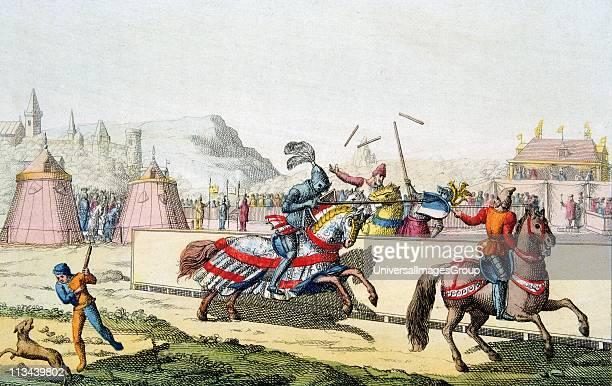 Armoured knights jousting at a tournament The knight on far side has a shattered lance and is being unhorsed 12th century Engraving c1820