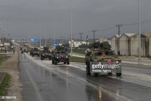Armoured military vehicles are being transported to support the units at border within the 'Operation Olive Branch' launched in Syria's Afrin on...