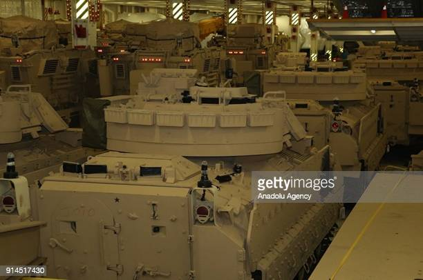 Armoured military vehicles donated from United States to Lebanon arrive at Beirut's port in Lebanon on February 5, 2018. 8 M2 Bradley military...