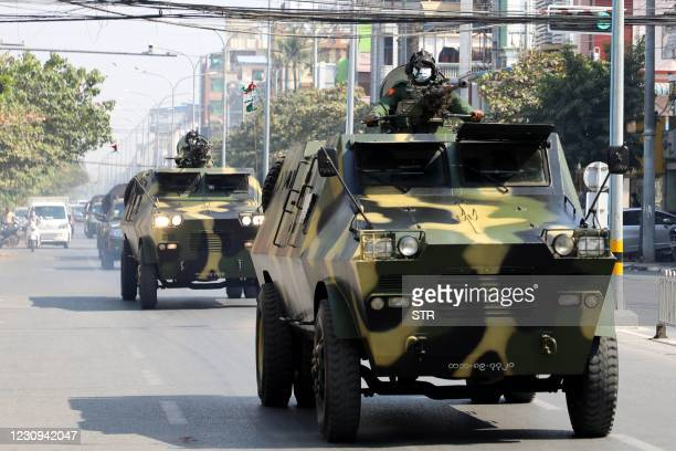 Armoured personnel carriers are seen on the streets of Mandalay on February 3 as calls for a civil disobedience gather pace following a military coup...