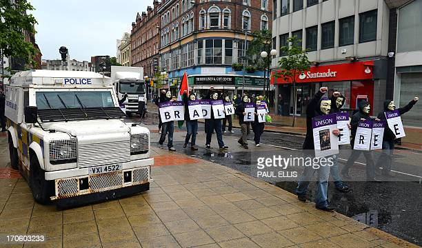 e42d36d15a Armoured police vehicles line the streets in the city centre in Belfast  Northern Ireland on June