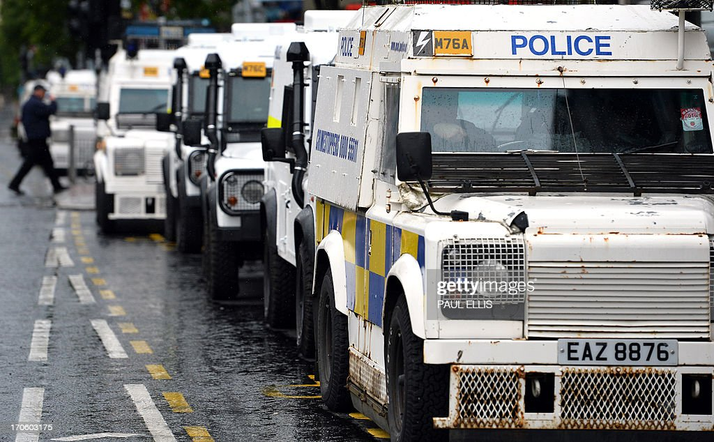 11787e9aee Armoured police vehicles line-up in the streets of the city centre ...