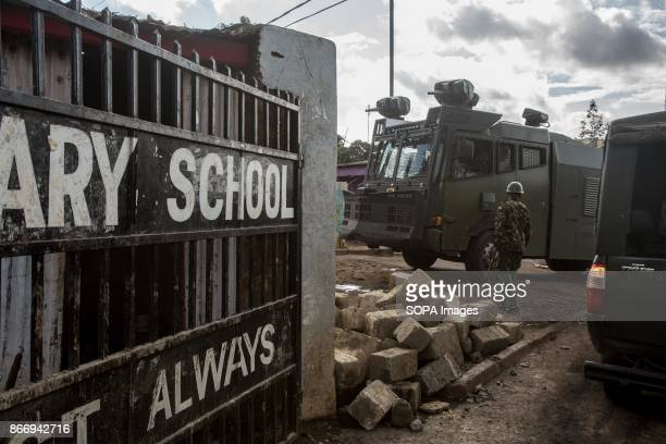 OLYMPIC KIBERA NAIROBI KENYA Armoured riot police with water cannon seen at the school gate On the second presidential election in 2017 a violence...