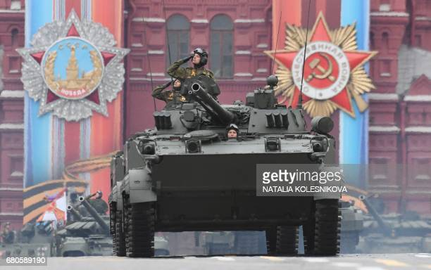 A BMP3 armoured vehicle rides through Red Square during the Victory Day military parade in Moscow on May 9 2017 Russia marks the 72nd anniversary of...