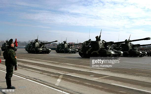 Armoured vehicles are paraded during a Victory Day parade rehearsal on April 24, 2009 in Alabino, outside Moscow, Russia. On May 9, 2009 Russia will...
