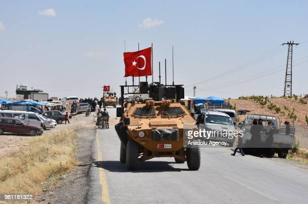 Armoured vehicles of Turkish Armed Forces patrolling in the northern Syrian city of Manbij on June 22 2018 Turkish Armed Forces on Friday completed...