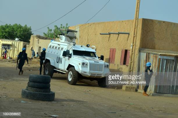 UN armoured vehicles with the Senegalese contingent of the United Nations Multidimensional Integrated Stabilization Mission in Mali patrol the...