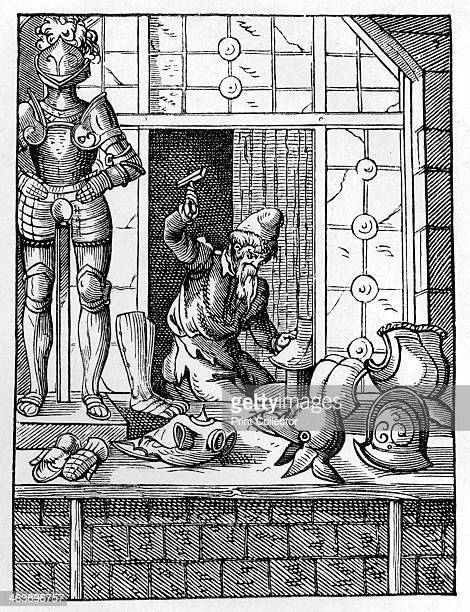 Armourer c15591591 An armourer in his workshop using a hammer to shape a piece of armour On display in front of his shop are items he has made...