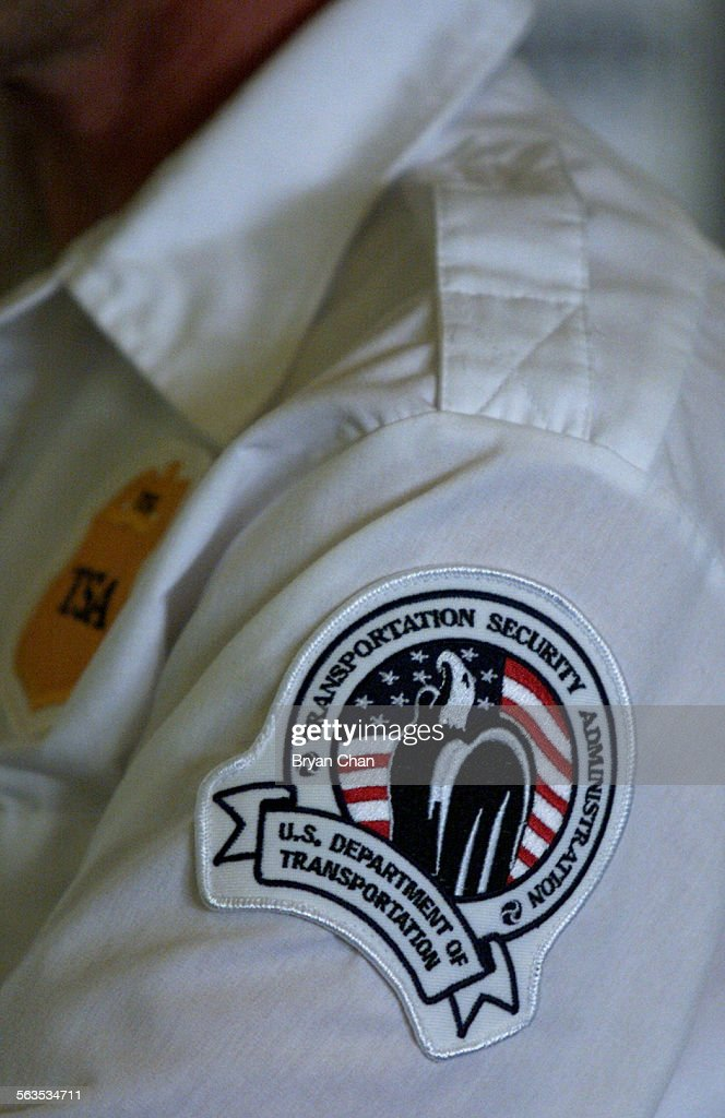 Armpatch for the Transportation Security Administration. New federal transportation security screene : News Photo