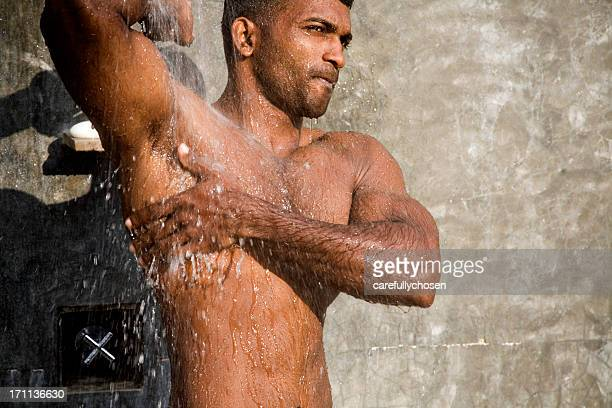 armpit in the shower - male armpits stock pictures, royalty-free photos & images