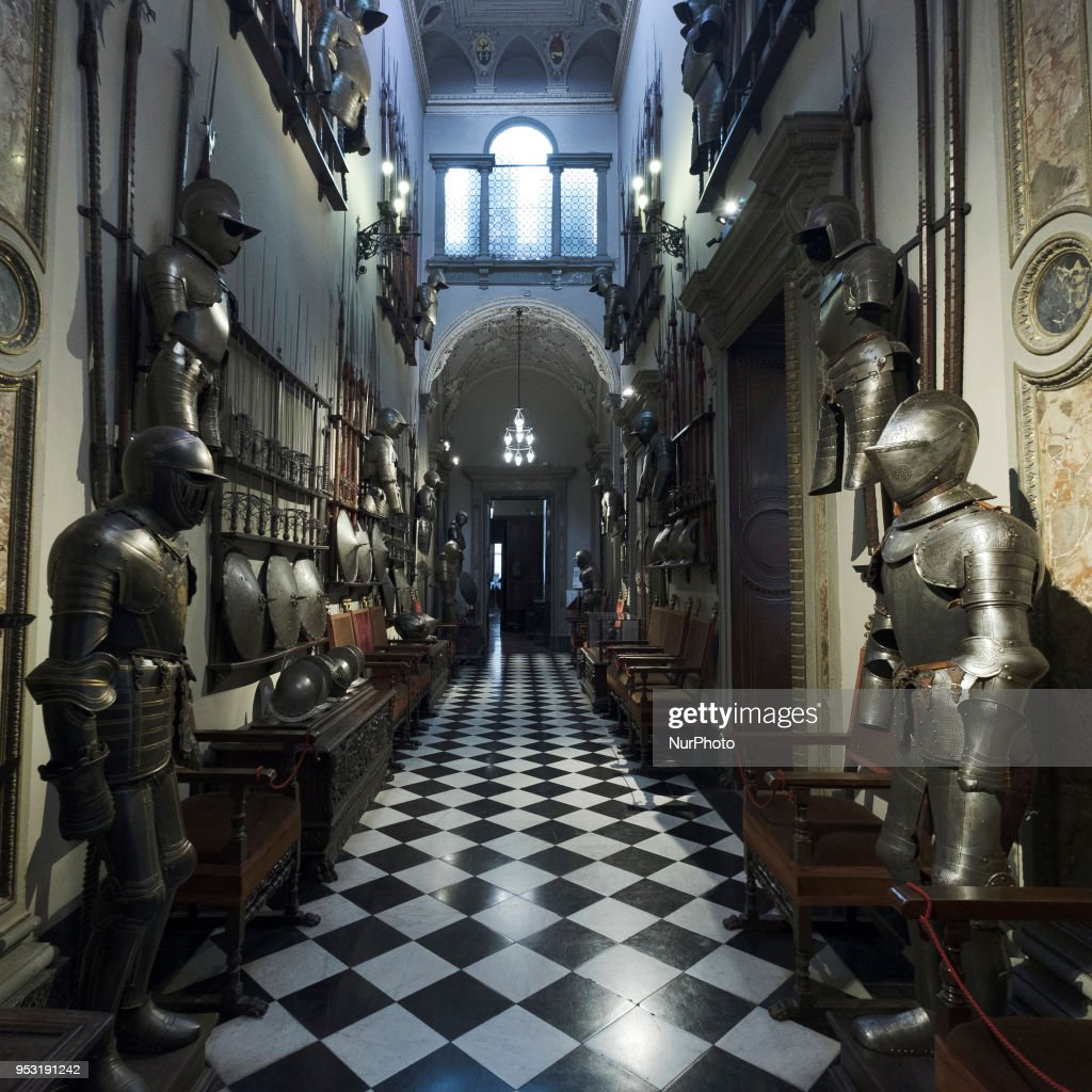 Arms Gallery at the Bagatti Valsecchi in Milan, Italy, on 30 April, 2018. The Bagatti Valsecchi Museums collections principally contain Italian Renaissance decorative arts some sculptures. European Renaissance weapons, armor, clocks and a few textiles and scientific complete the collection assembled by the Barons Bagatti Valsecchi, and displayed in their home, as per their wishes.