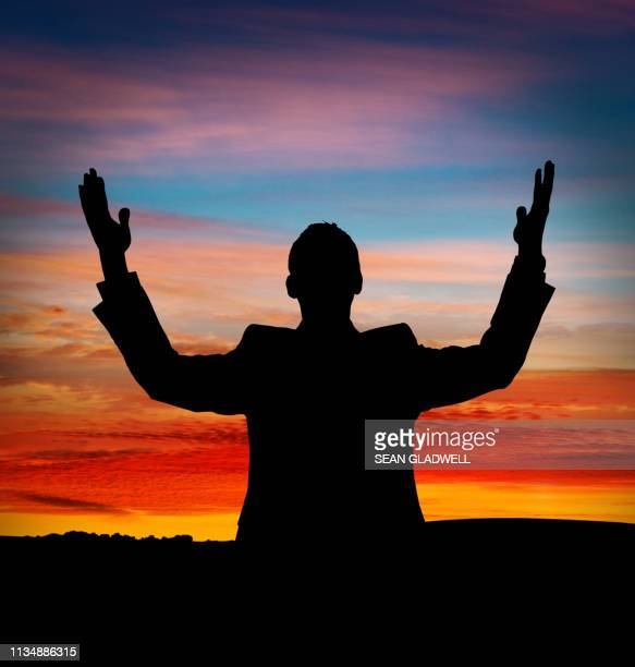 arms raised silhouette - human arm stock pictures, royalty-free photos & images