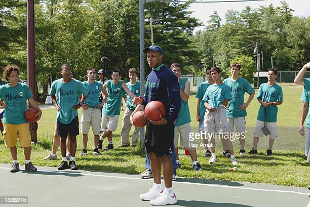 J Armstrong former player of the Chicago Bulls and assistant GM with the Bulls teaches the kids of Play for Peace the fundamentals of basketball on...
