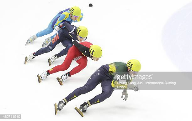 Armstrong Lazenby of Australia Chen Dequan Han SeungSoo of South Korea and Abzal Azhgaliyev of Kazakhstan compete in the Men 5000M Relay Semifinals...