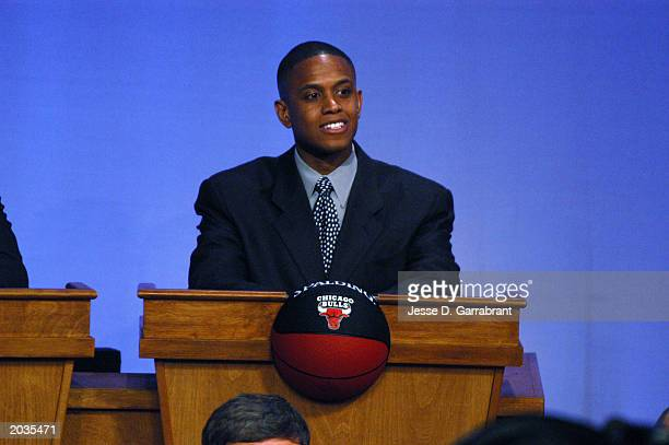 J Armstrong special assistant EVP basketball operations for the Chicago Bulls looks on during the 2003 NBA draft lottery on May 22 2003 in Secaucus...