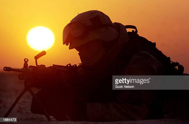 S Army 3rd Division 37 Infantry soldier mans a frontline position at sunrise March 29 2003 south of the Iraqi city of Karbala The 3rd Infantry...