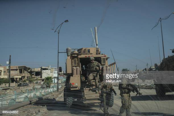 S Army 82nd Airborne Division MRAP on June 21 2017 in west Mosul Iraq The Division provides advise and assist support to Iraqi forces