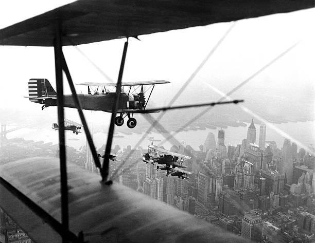 U.S. Army Air Corps planes fly over New York City as part of
