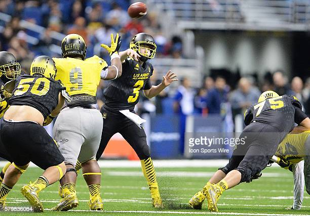 S Army AllAmerican Bowl East Team quarter back Drew Lock throws a pass during the US Army AllAmerican Bowl in the Alamodome in San Antonio Texas