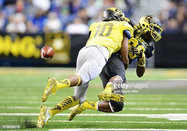 S Army AllAmerican Bowl West Team defensive back Marvell Tell knocks the ball from US Army AllAmerican Bowl East Team WR Darius Slayton as he tries...