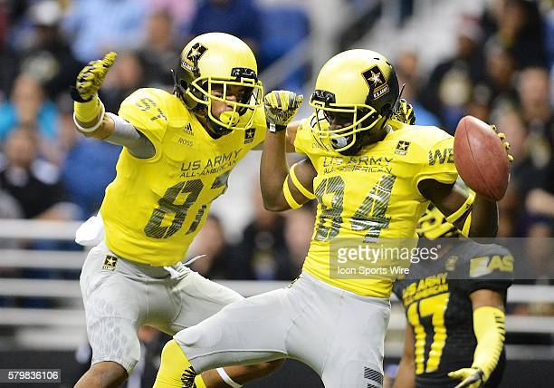 S Army AllAmerican Bowl West Team wide receiver Ykili Ross and US Army AllAmerican Bowl West Team wide receiver Derrick Dillon celebrate after Dillon...