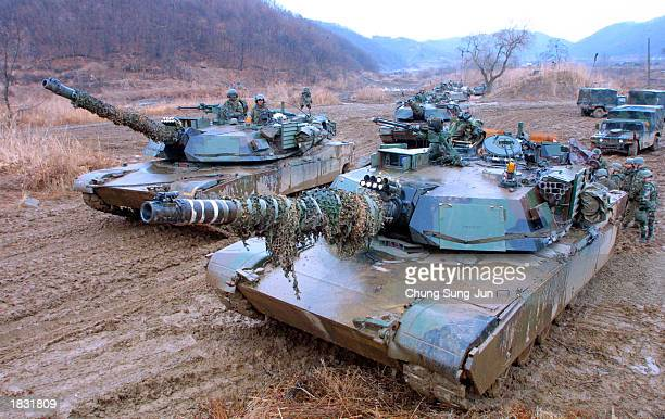 S Army arrive in M1 tanks for training in preparation for any possible surprise attack by North Korea near the demilitarized zone March 6 2003 in...