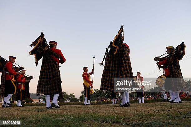 Army band performing during a Vijay Diwas celebration at Yodhasthal under the aegis of Headquarter 21 Corps on December 16 2016 in Bhopal India Vijay...