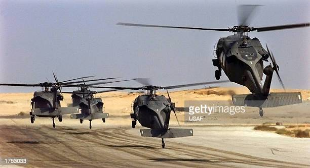 US Army Black Hawk helicopters lift off on October 6 1999 during Exercise Bright Star in Cairo Egypt Media reports indicate that an Army H60 Black...