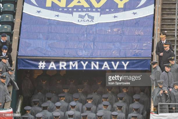 Army Black Knights cadets march during the ArmyNavy game on December 14 2019 at Lincoln Financial Field in Philadelphia PA