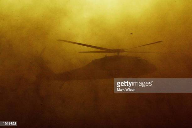Army Blackhawk creates a cloud of dust as it lands at Dalil Air Base April 10, 2003 in near An Nasiriyah, Iraq. The 101st. The former airport was...