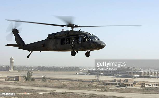 A US army Blackhawk helicopter flies over Baghdad International Airport 22 September 2007 Iraqi forces have taken the lead for security in only about...